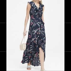 Banana Republic Floral Ruffle-Wrap Maxi Dress